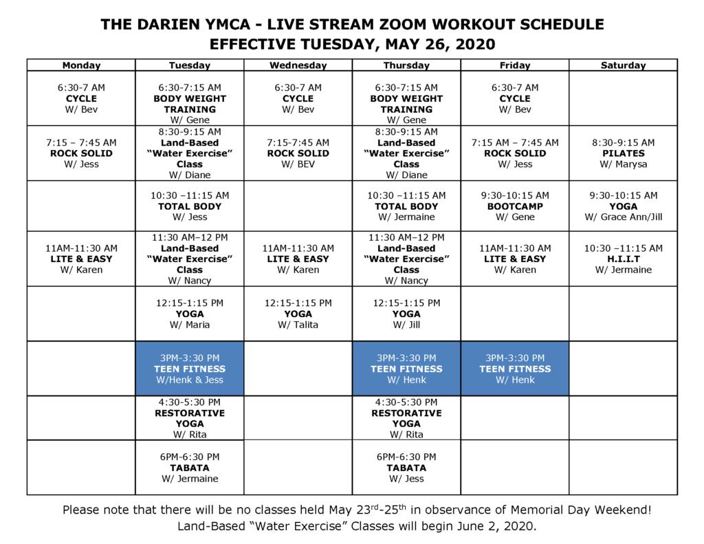 Darien YMCA Group Fitness Schedule Beginning May 26
